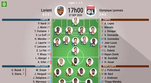 Les compos officielles du match de Ligue 1 entre Lorient et Lyon. BeSoccer