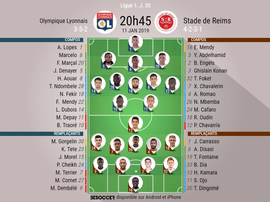 Compos officielles Lyon-Reims, 20ème journée de l'édition 2018-19 de Ligue 1, 11/01/2019. BeSoccer