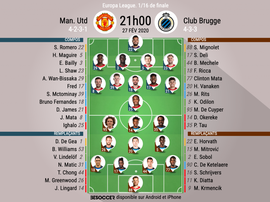 Compos officielles Man United - Bruges, Europa League, 16ème retour, 27/02/2020, BeSoccer