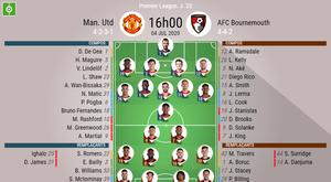 Les compos officielles du match de Premier League entre Man Utd et Bournemouth. BeSoccer