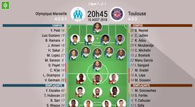 Compos officielles Marseille-Toulouse, J1 Ligue 1, 18-19. BeSoccer