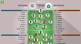 Les compos officielles du match de Ligue 1 entre Montpellier et Saint-Étienne