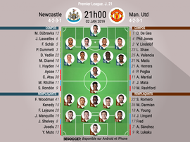 Compos officielles Newcastle-United, J21, Premier League, 02/01/19. BeSoccer