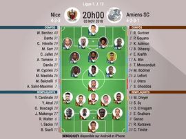 Compos officielles Nice-Amiens, J12, Ligue 1, 3/11/18. BeSoccer
