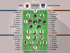 Compos officielles Nice-Bordeaux, J20, Ligue 1, 12/01/19. BeSoccer