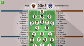 Compos officielles Nice-Bordeaux, Ligue 1, J.13, 08/11/2019, BeSoccer