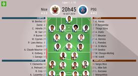 Compos officielles Nice-PSG, 10ème journée de la saison 2019-20 de Ligue 1, 18/10/2019. BeSoccer