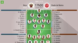 Compos officielles Nice-Reims, Ligue 1, J12, 03/11/2019. BeSoccer