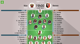 Compos officielles Nice-Rennes, J5, Ligue 1, 14/09/18. BeSoccer