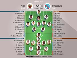 Compos officielles Nice-Strasbourg, 27ème journée de Ligue 1, 03/03/2019. BeSoccer