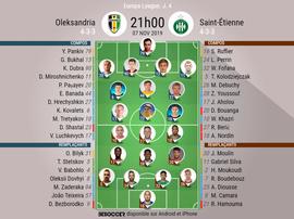 Compos officielles Oleksandria-ASSE, Europa League, J4, 07/11/2019. BeSoccer