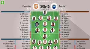 Compos officielles Pays-Bas-France, 5ème journée de Ligue des nations, 16/11/2018. BeSoccer