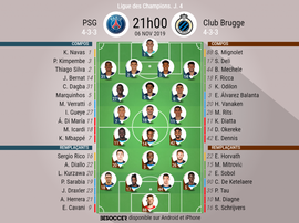 Compos officielles PSG-Bruges, Champions League, J4, 06/11/2019. BeSoccer
