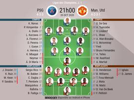 Les compos officielles du match de Ligue des champions entre le PSG et Man United. BeSoccer