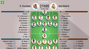 Les compos officielles du match de Liga entre la Real Soc. et le Real Madrid. BeSoccer