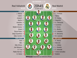 Compos officielles Real Valladolid-Real Madrid, 27ème journée de l'édition 2018-19 de Liga. BeSoccer