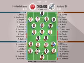 Compos officielles Reims-Amiens, 27ème journée de l'édition 2018-19 de Ligue 1, 02/03/2019. BeSoccer