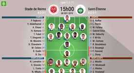 Compos officielles Reims-ASSE, Ligue 1, J.17, BeSoccer