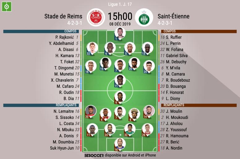 Compos officielles Reims-ASSE, Ligue 1, J.17, BeSoccer