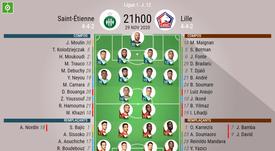 Les compos officielles du match de Ligue 1 entre Saint-Étienne et Lille. BeSoccer