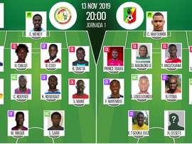 Compos officielles Sénégal-Congo, élim.CAN 2021, J1, 13/11/2019. BeSoccer