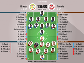 Compos officielles Sénégal-Tunisie, CAN, Demi-finale, 14/07/2019, BeSoccer.