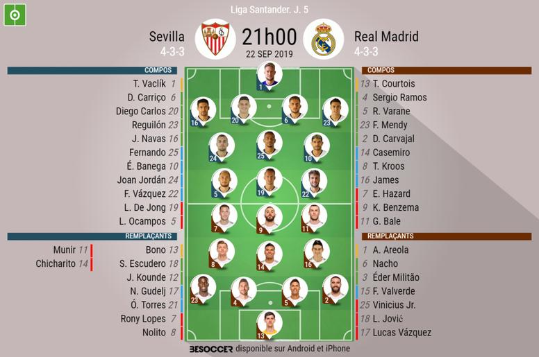 Compos officielles Séville-Madrid, 5e journée de l'édition 2019-20 de Liga, 22/09/2019. BeSoccer