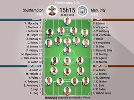 Compos officielles Southampton-City, J20, Premier League, 30/12/2018. BeSoccer