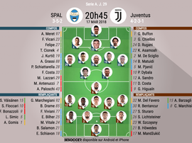 Les compos officielles du match de Serie A entre la SPAL et la Juventus. BeSoccer