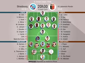 Compos officielles Strasbourg-Plovdiv, Tour préliminaire Europa League 2019-2020. BeSoccer