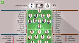 Compos officielles Tottenham - LASK, Europa League J.1, 22-10-2020. BeSoccer