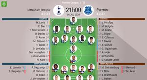 Les compos officielles du match de Premier League entre Tottenham et Everton. BeSoccer