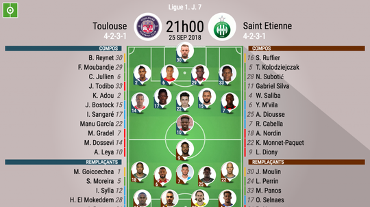 Compos officielles Toulouse - Saint-Etienne, J7, Ligue 1, 25/09/18. BeSoccer
