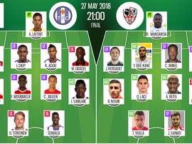 Compos officielles Toulouse-Ajaccio, barrage Ligue 1 retour, 27/05/18. BeSoccer