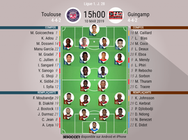 Compos officielles Toulouse-Guingamp, Ligue 1, J 28, 10/03/2019, BeSoccer