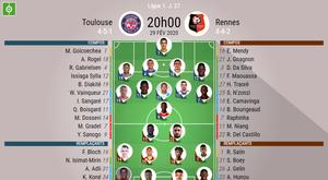 Les compos officielles du match de Ligue 1 entre Toulouse et Rennes. BeSoccer