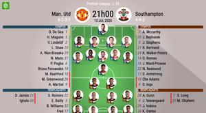 Les compos officielles du match de Premier League entre Man Utd et Southampton. BeSoccer
