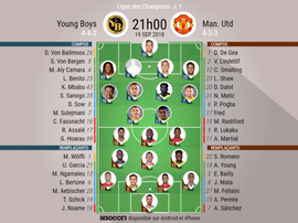 Compos officielles Young Boys - Manchester United, J1 19/06/2018