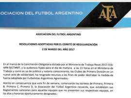 La AFA lo hizo oficial mediante este comunicado. AFA