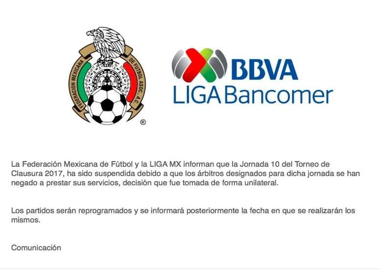 Pin La huelga de árbitros provoca la suspensión de la jornada en México.  Twitter 7529ad297c0c7