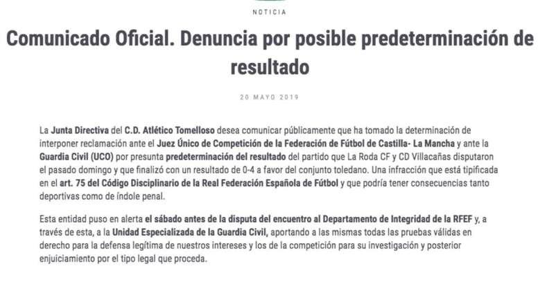El Atlético Tomelloso denunció en la UCO un amaño de partido. AtléticoTomelloso