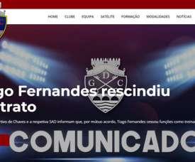 O Chaves comunicou que Tiago Fernandes já não é técnico do clube. Chaves