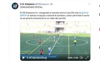 El Estepona impugnó un partido. Captura/Twitter/CDEstepona