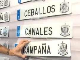 Spain announced the squad using numberplates.  Captura/sefutbol