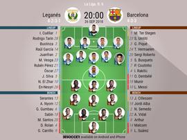 Formazioni ufficiali Leganes-Barcellona. BeSoccer