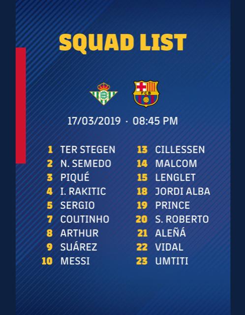 I convocati del Barcellona per il Betis. Twitter/Barcelona