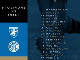 Convocati dell'Inter per il Frosinone. Twitter/InterFC