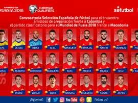 La liste des joueurs de la sélection espagnole pour les matches contre la Colombie et Macédoine.RFEF