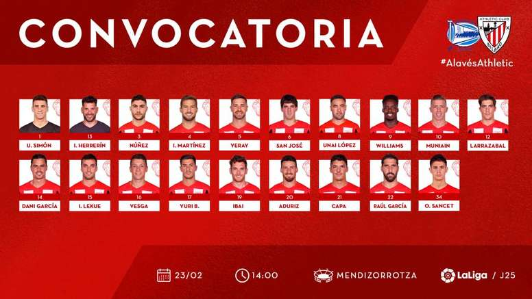 El Athletic sacó su convocatoria. Twitter/AthleticClub