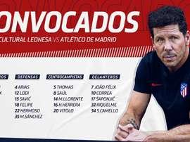 Atlético de Madrid divulgou a lista de relacionados para a partida da Copa do Rei. Twitter/Atleti